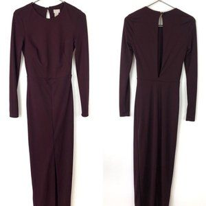 🐱 H&M Burgundy Open Back Long Sleeve Gown